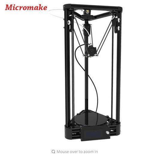 [해외]Micromake 3D 프린터 풀리 버전 선형 가이드 DIY 키트 Kossel Delta 자동 수평 조정 대형 인쇄 크기 3D 금속 프린터/Micromake 3D Printer Pulley Version Linear Guide DIY Kit Kossel Delt