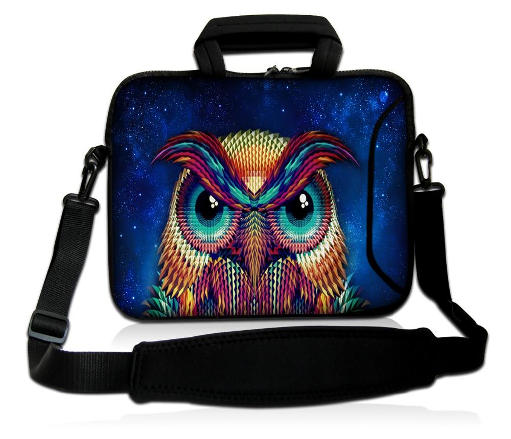 [해외]17 17.3 인치 컬러 올빼미 패턴 neoprene 노트북 어깨 가방 케이스 주머니 노트북 PC 가방 어깨 끈은 여성을위한/17 17.3 inch Colored owl pattern neoprene laptop shoulder  bag case pouch no