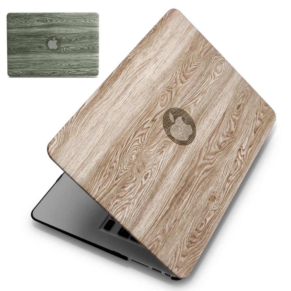 [해외]ZVRUA, 클래식 우드 그레인 PU 가죽 탑 + MacBook Air Pro Retina 11 12 13 15 인치 터치 바용 하드 플라스틱 랩톱 케이스 New/ZVRUA, Classical wood grain PU leather top + Hard plast