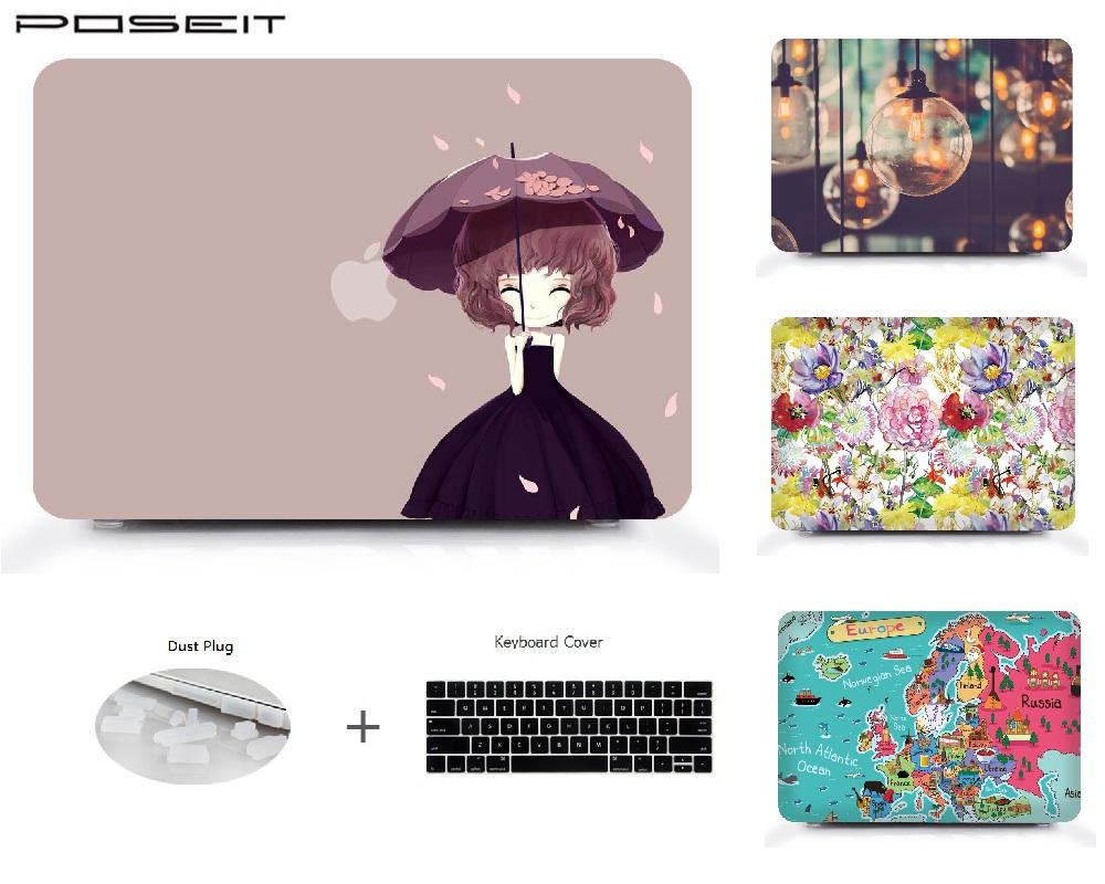[해외]Macbook Air 11 13 Pro Retina 13 15 MacBook 터치 바용 플라스틱 하드 케이스 커버 13 15 노트북 셸 + 키보드 커버 + 먼지 플러그/For Macbook Air 11 13 Pro Retina 13 15 Plastic Hard