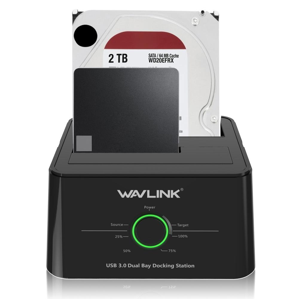 [해외]Wavlink Dual Bay SATA - USB3.0 외장형 하드 드라이브 도킹 스테이션 2.5 / 3.5inch HDD / SSD 오프라인 클론 / 백업 / UASP 기능/Wavlink Dual Bay SATA to USB3.0 External Hard Dr
