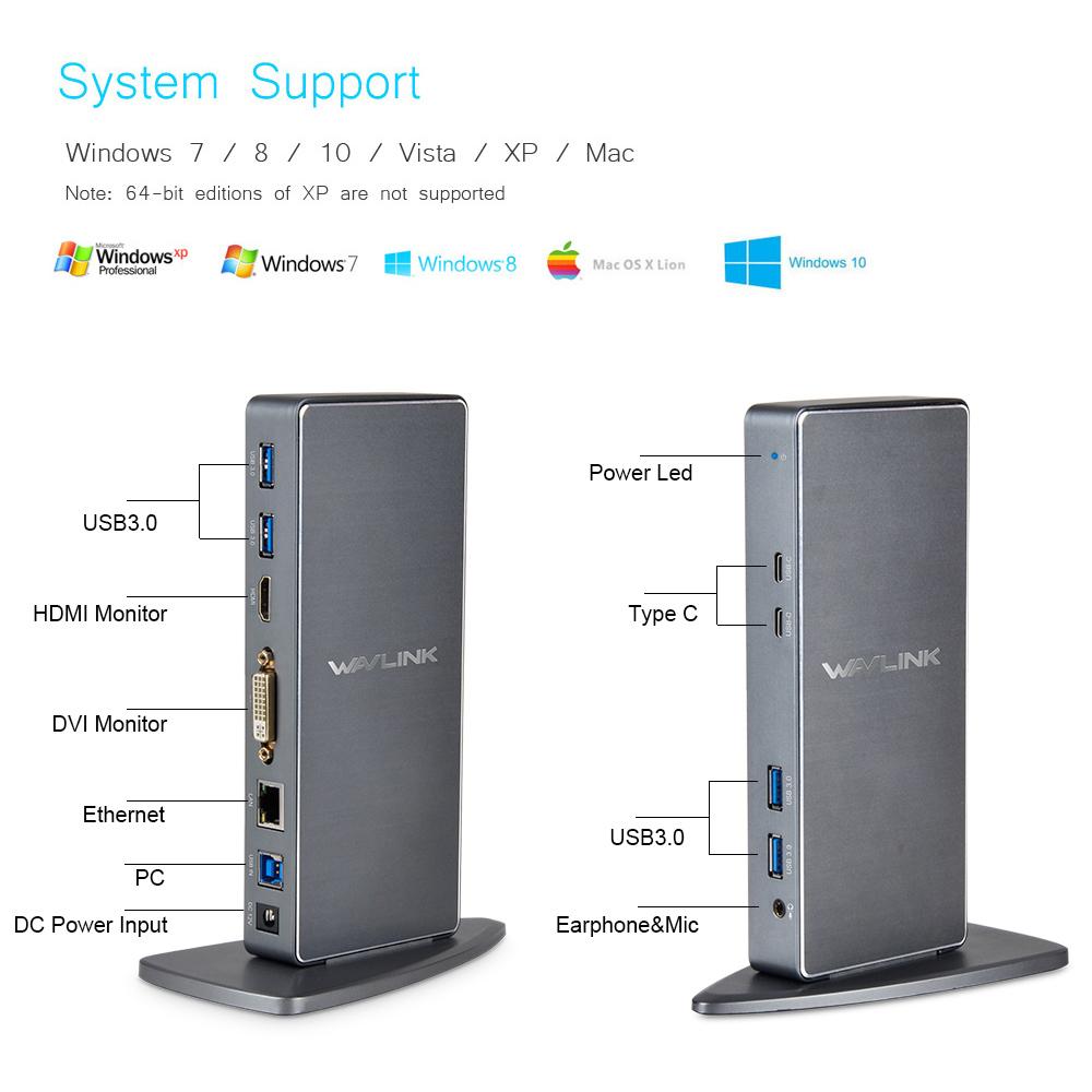 [해외]Wavlink 풀 HD 2048x1152 USB 3.0 Type-C & amp; USB-C 유니버설 도킹 스테이션 RJ45 / DVI / HDMI / VGA / MIC / 오디오 포트 DisplayLink UK/Wavlink Full HD 2048x115