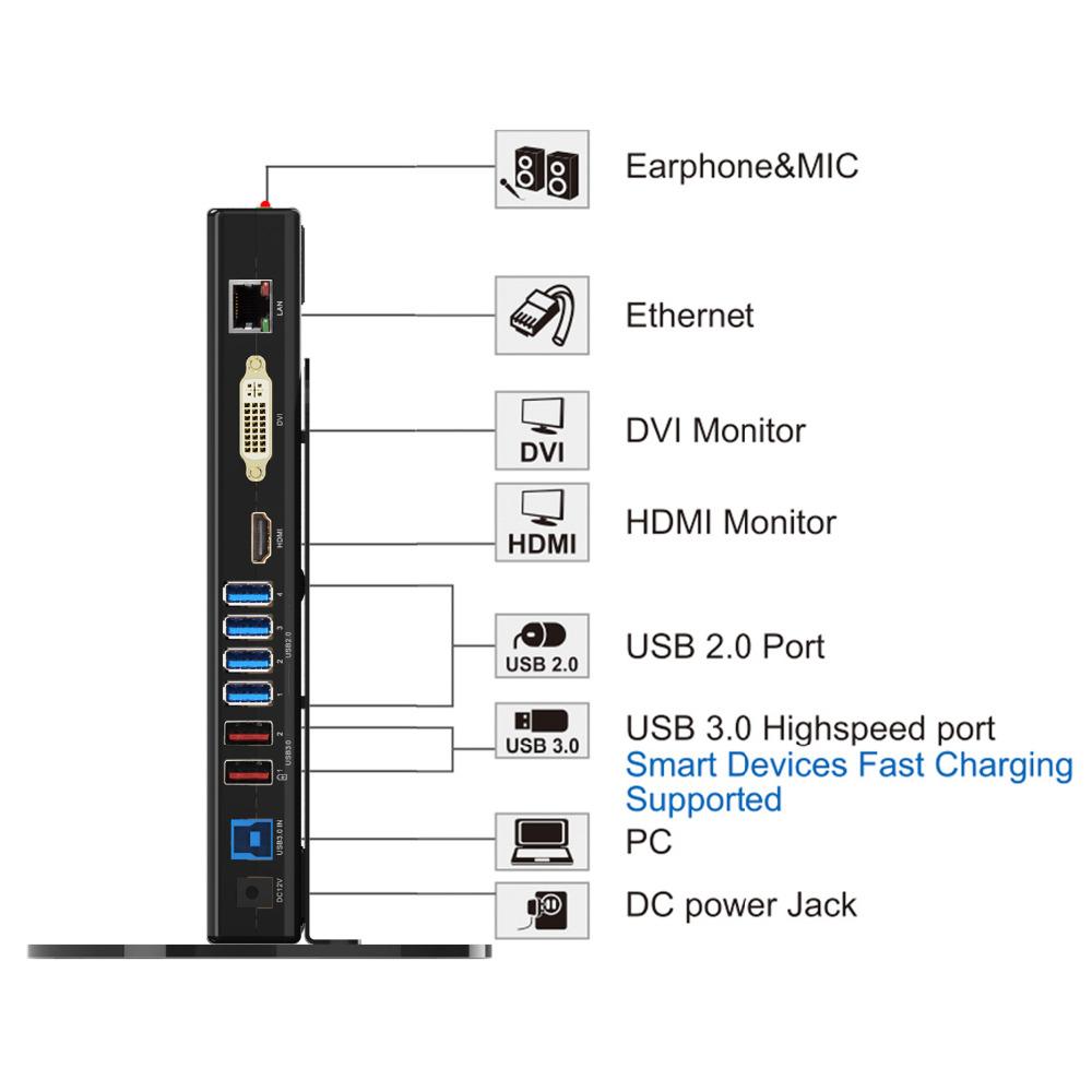 [해외]WAVLINK USB3.0 범용 도킹 스테이션 듀얼 디스플레이 수직 스탠드 지원 랩톱 / PC / MAC OS 용 DVI / HDMI / VGA 기가비트 이더넷/WAVLINK USB3.0 UNIVERSAL DOCKING STATION DUAL DISPLAY VE