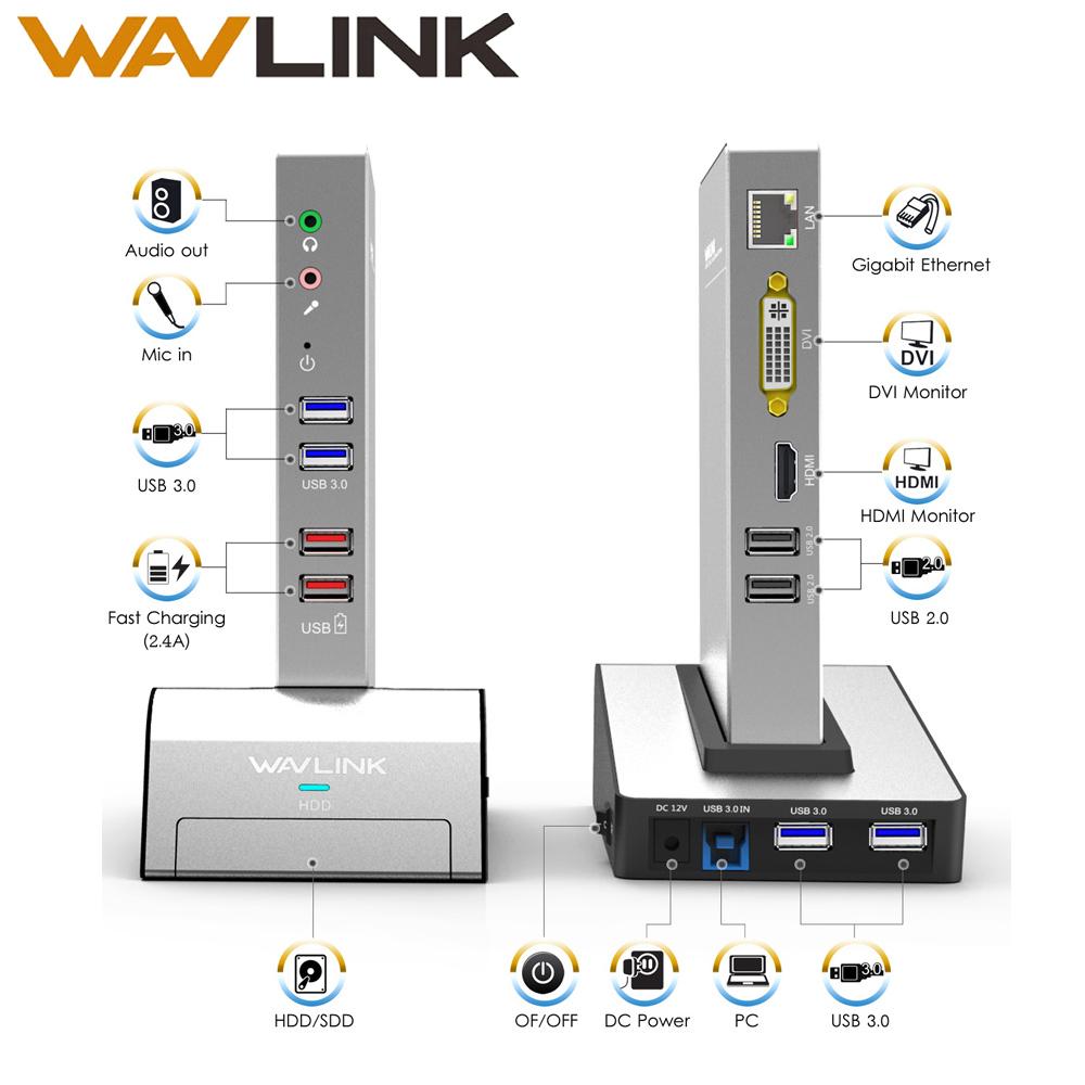[해외]USB 3.0 범용 노트북 도킹 스테이션 (HDD 및 SSD 인클로저베이스 포함) 듀얼 비디오 지원 HDMI / VGA / DVI to 2048X1152 기가비트 이더넷/USB 3.0 Universal Laptop Docking Station w/ HDD&amp