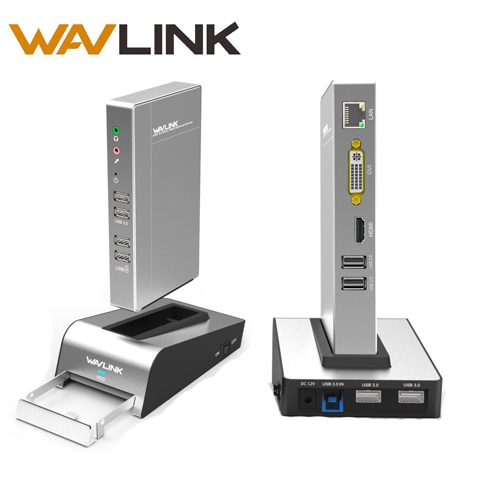 [해외]USB 3.0 알루미늄 범용 도킹 스테이션 HDD 및 SSD 인클로저베이스 듀얼 비디오 모니터는 최대 2048 * 1152의 HDMI / VGA / DVI를 지원합니다/USB 3.0 Aluminum Universal Docking StationHDD&SS