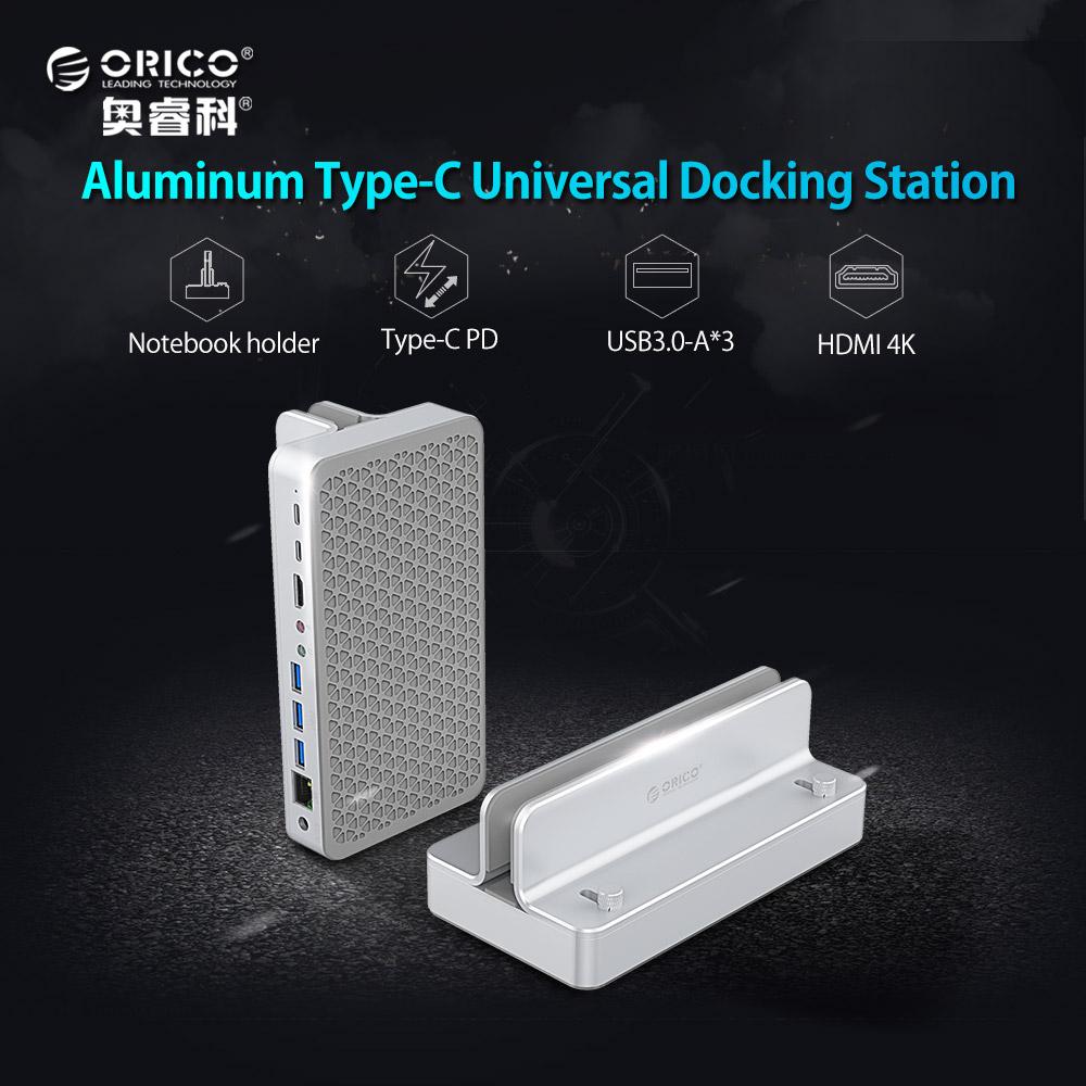 [해외]ORICO 노트북 도킹 스테이션 Extensio HDMI 4K RJ45 1000M USB3.0 오디오 마이크 인터페이스 TYPE-C PD + DC12V 전원 공급 장치 홀더/ORICO Laptop Docking Station Extensio HDMI 4K RJ4