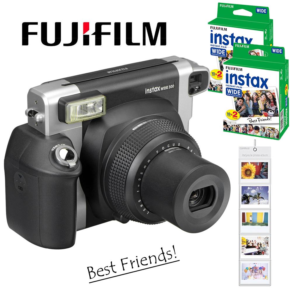 [해외]후지 필름 Instax WIDE 300 필름 즉석 포토 카메라 + 후지 인스턴트 210 와이드 일반 흰색 프레임 20 매 컬러 사진 필름/Fujifilm Instax WIDE 300 Film Instant Photo Camera + Fuji Instant 210