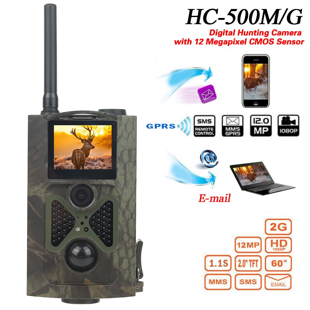 [해외]새로운 HC - 500M 12MP 1080P 디지털 적외선 사냥 흔적 카메라 mms 비디오 나이트 비전 야생 동물 사진 트랩 gsm 사냥 캠/New HC-500M 12MP 1080P Digital Infrared Hunting Trail Camera mms Vi