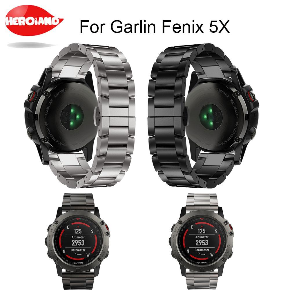 [해외]?금속 시계 밴드 스트랩 26mm 티타늄 스틸 팔찌 손목 스트랩 WatchBand 스마트 시계 밴드 가민 Fenix ??5X 용/ metal watch bands strap 26mm Titanium Steel Bracelet Wrist Strap WatchBan