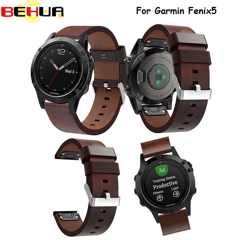 [해외]스포츠 시계 팔찌 watchbands  가죽 스트랩 시계 밴드 시계 액세서리 손목 밴드 Garmin Fenix ??5 시계 밴드에 대한 22mm/Sport watch bracelet watchbands genuine leather strap watch band