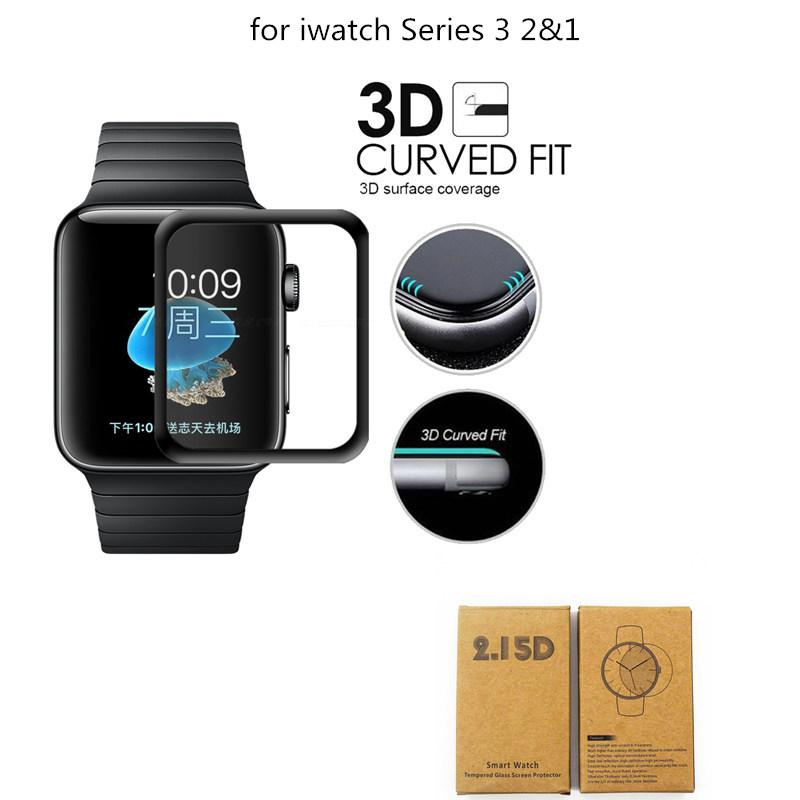 [해외]iWatch 강화 유리 화면 보호기에 대 한 3D 전체 커버 곡선 된 화면 애플 시계 시리즈 3에 대 한 보호 필름 2 1 38 mm 42 mm/3D Full Cover For iWatch Tempered Glass Screen Protector  Curved