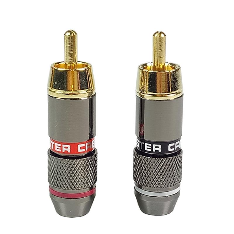 [해외]10pcs / lot RCA 커넥터 금도금 된 와이어 커넥터 6mm 케이블 RCA 남성 플러그 전문 스피커 오디오 어댑터 5 쌍 레드 + 블랙/10pcs/lot RCA Connector gold plated Wire Connector 6mm cable RCA m