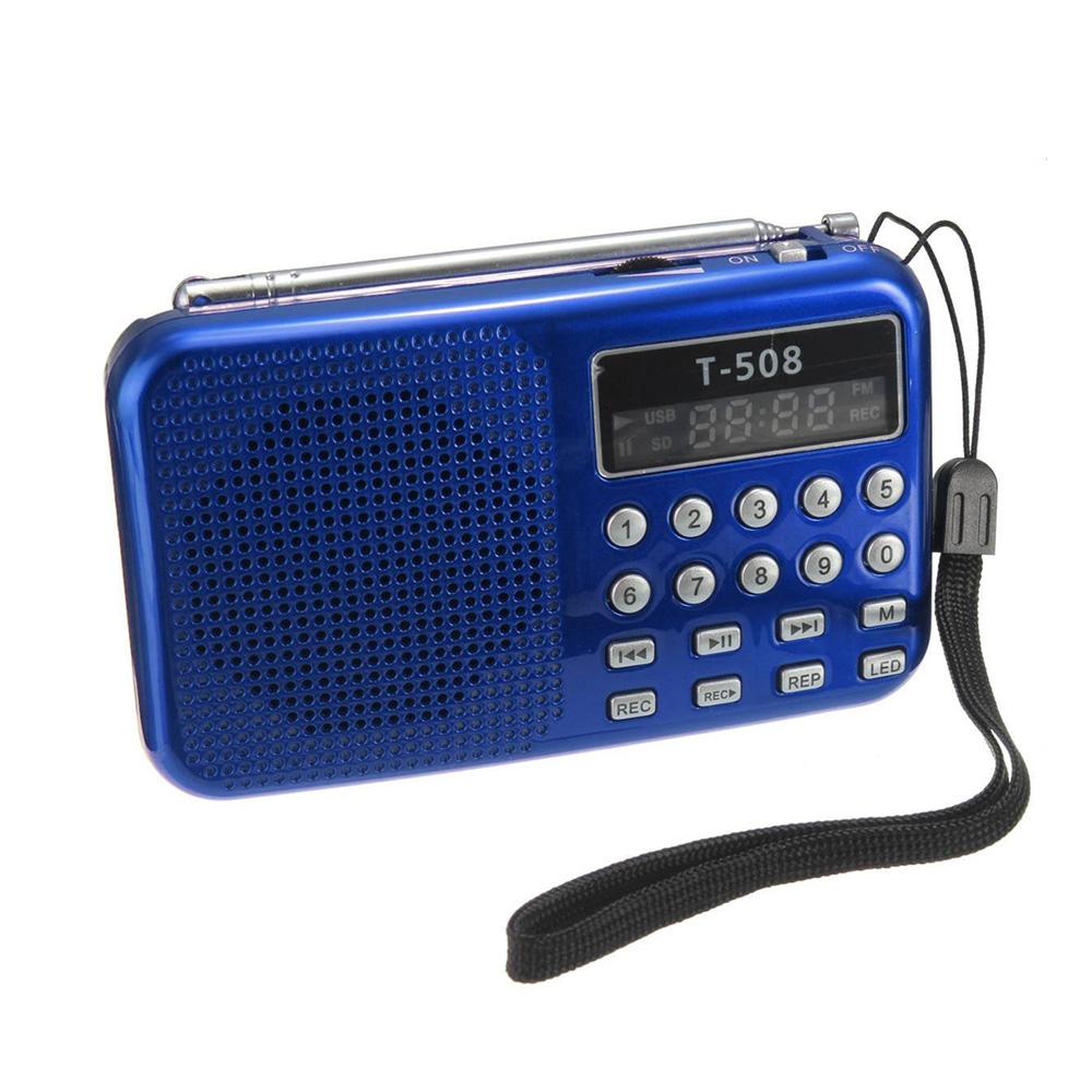 [해외]휴대용 미니 LED 스테레오 FM 라디오 스피커 USB의 TF 카드 MP3 음악 플레이어 50mm 내부 자석 T508/Mini Portable LED Stereo FM Radio Speaker USB TF Card MP3 Music Player 50mm Inte