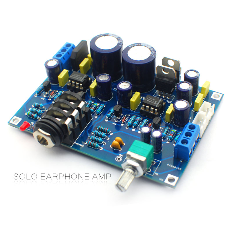 [해외]하이파이 헤드폰 앰프 키트 SOLO 이어폰 앰프 diy 키트 NE5534 영어 솔로 업그레이드 버전/Hifi Headphone amplifier kit SOLO earphone amplifier amp diy kits dual NE5534 English SOLO