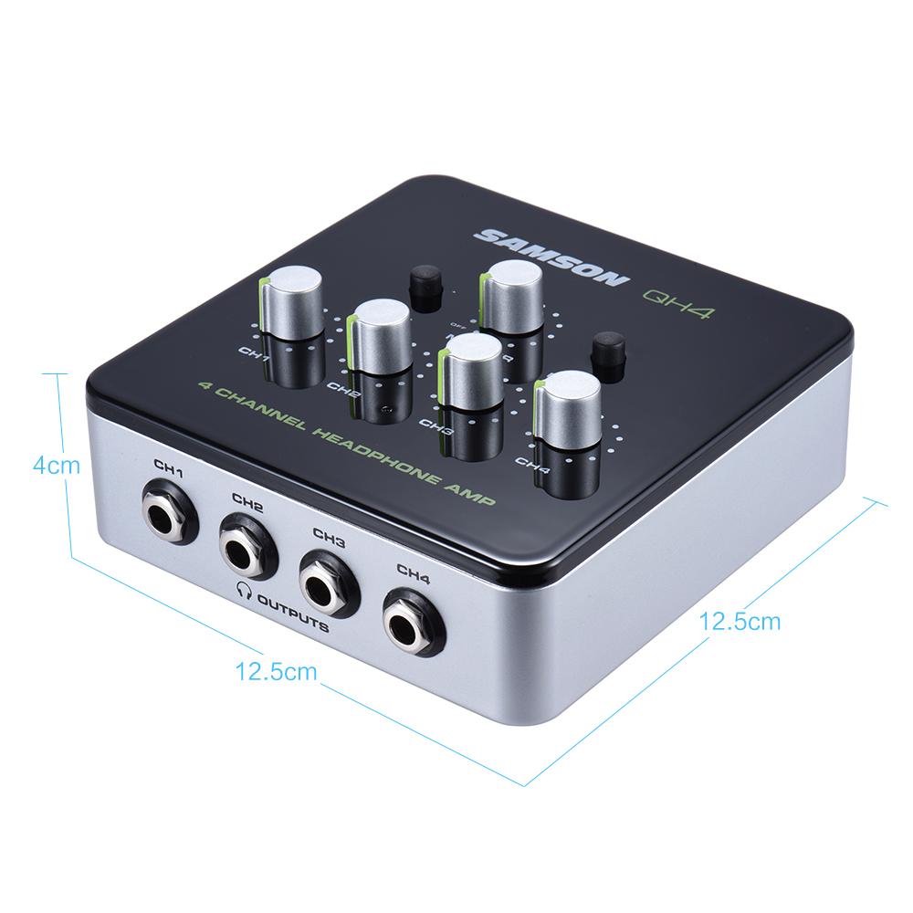 [해외]삼손 QH4 초소형 4 채널 미니 오디오 스테레오 DJ 모니터링 헤드폰 앰프 AmpPower 어댑터/Samson QH4 Ultra-compact 4-Channel Mini Audio Stereo DJ Monitoring Headphone Amplifier Amp