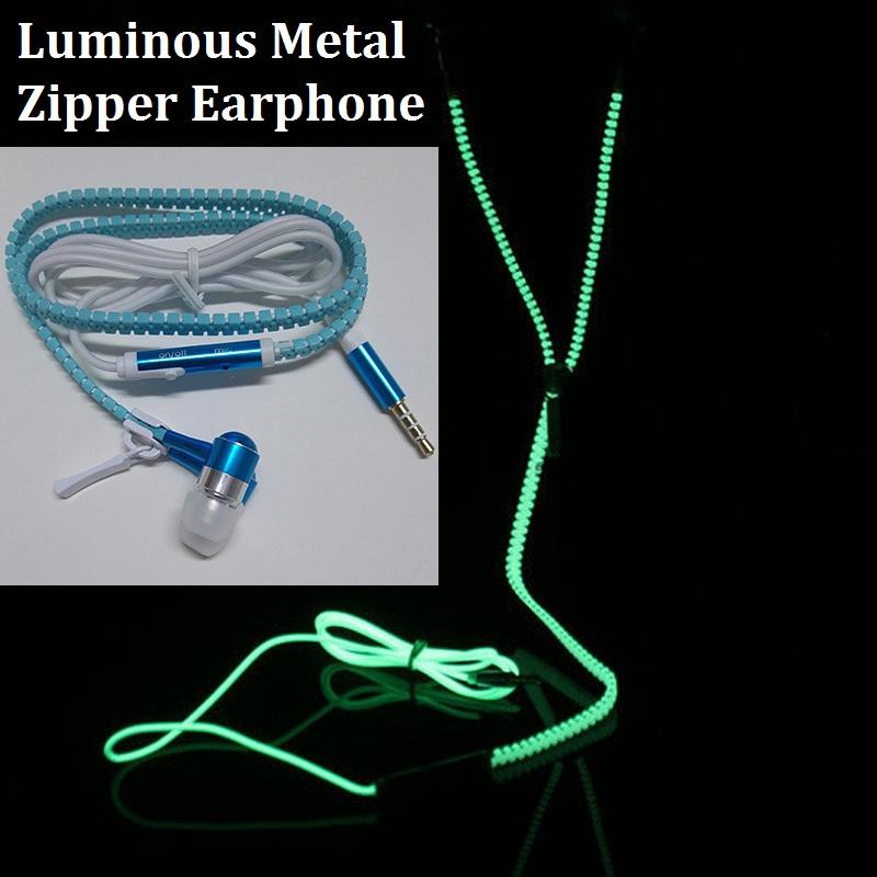 [해외]새로운 패션 스포츠 이어폰 헤드셋 다크 메탈 지퍼의 빛나는 빛 광선 휴대폰 용 이어폰/New Fashion Sports Earphones Headset Luminous Light Glow in the Dark Metal Zipper EarphoneMic for