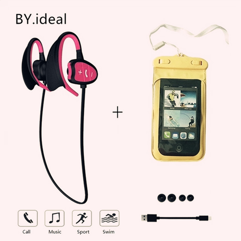 [해외]ipx8 방수 블루투스 헤드셋 소음 무선 블루투스 헤드폰 마이크 스테레오베이스 이어폰 전화 취소/ipx8 waterproof bluetooth headset noise cancelling wireless bluetooth headphonesmicrophone s