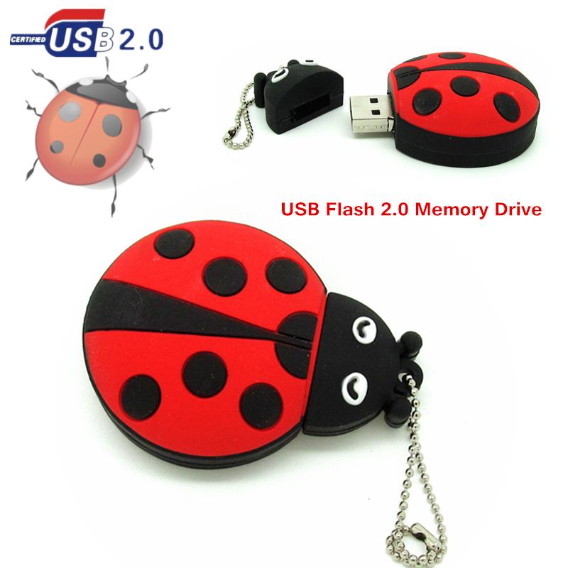 [해외]?새로운 디자인 귀여운 무당 벌레 펜 드라이브 비틀 USB 플래시 드라이브 메모리 스틱 저장 장치 4g 8g 16g 32g U 디스크 금속 체인/ new design cute  Ladybug Pen drive Beetle usb flash drive memory
