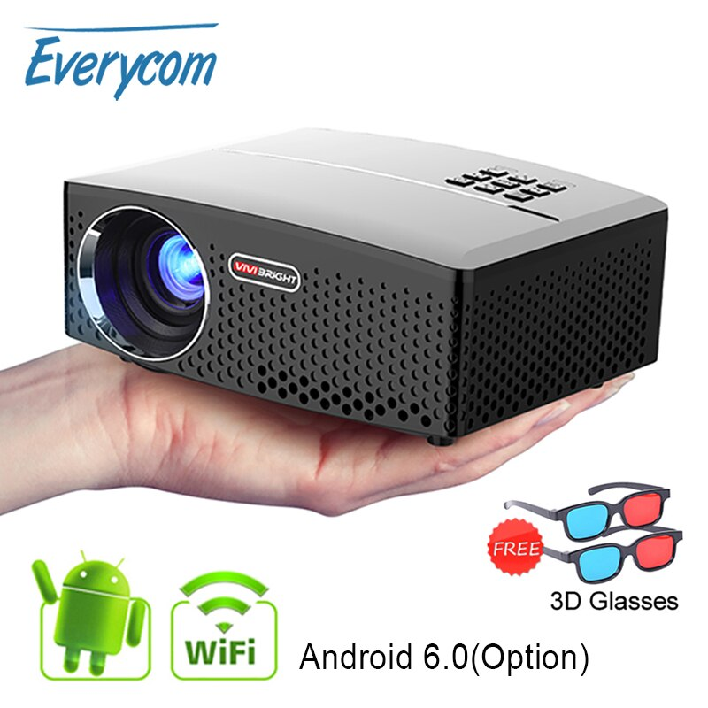 [해외]/Everycom GP80 GP80UP LED 1800 Lumens HD Mini Portable Projector for Home Theater Cinema Supprot 1080P USB HDMI