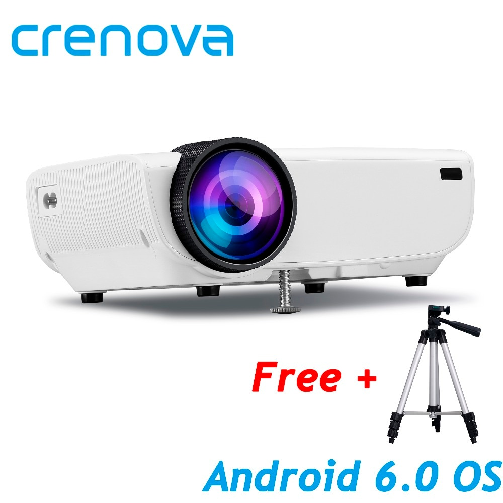 [해외]/CRENOVA Newest Video Projector For Full HD 1080P 안드로이드 6.0OS WIFI Bluetooth Home Theater Movie ProjectorStand HDMI Cable