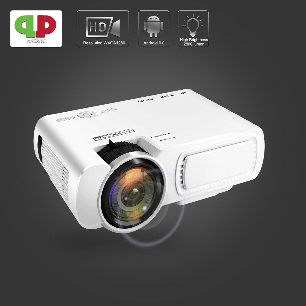 [해외]Powerful Portable MINI Led Projector T5 UP 안드로이드 6.0 Version 1800Lumen Smart Full HD Projector Home Theatre Beamer Proyector/Powerful Portable MIN