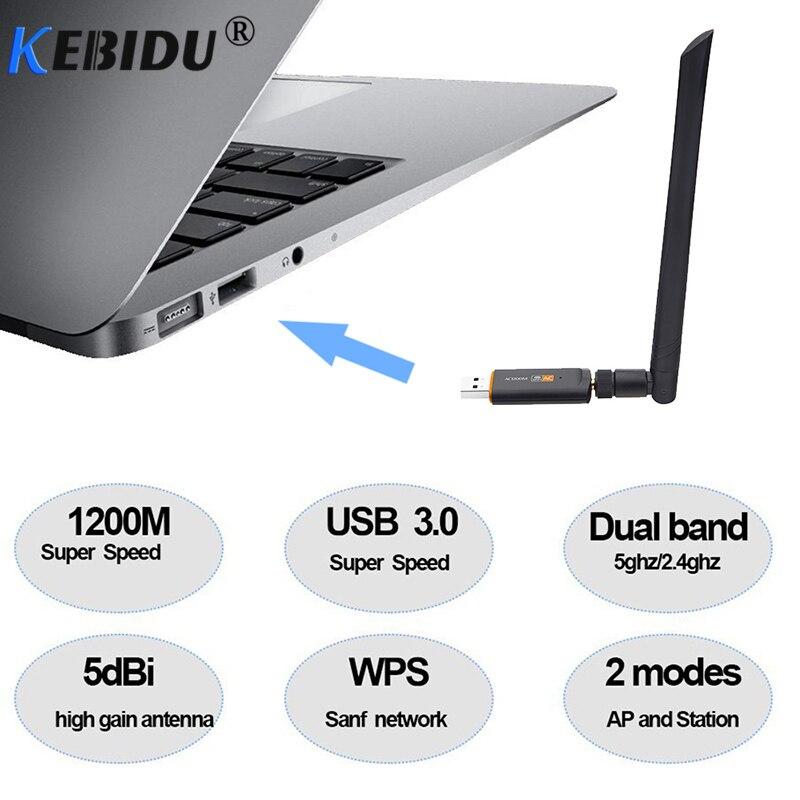 [해외]Kebidu 1200Mbps Super Speed USB 3.0 Wireless Wifi Adapter 2.4Ghz/5Ghz Dual Band Network Card RTL88125dBi Antenna For PC/Kebidu 1200Mbps Super Spee