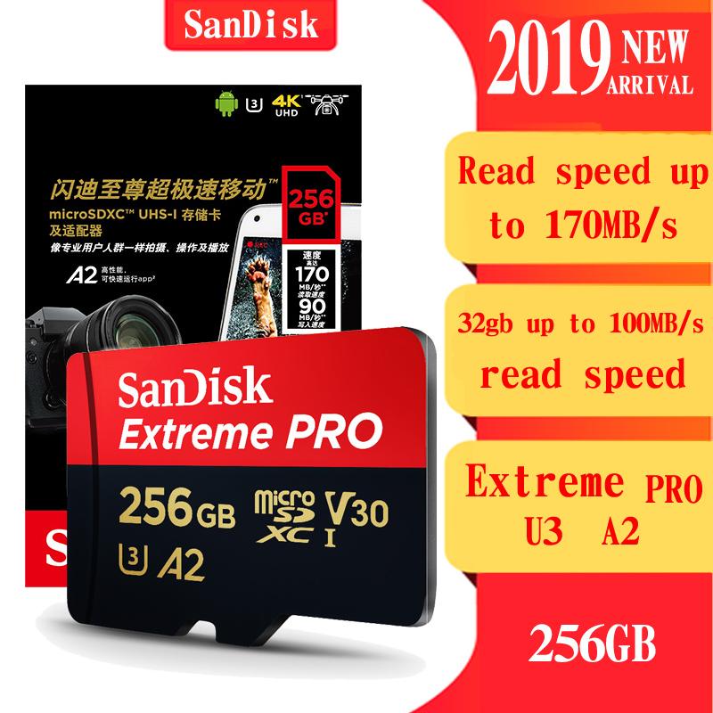 [해외]Sandisk extreme pro 고 안정성 microsd 256 gb 메모리 카드 128 gb 32 gb 64 gb 마이크로 sd 카드 class10 sdxc UHS-I u3 플래시 tf 카드/Sandisk extreme pro 고 안정성