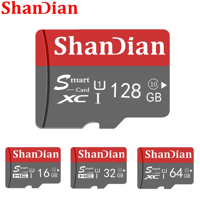 SHANDIAN 스마트 SD 카드 32 기가 바이트 고속 클래스 10 16 기가 바이트/64 기가 바이트 실제 용량 128 기가 바이트 미니 SD 메모리 카드 TF 카드 스마트 폰