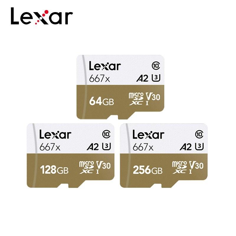 Lexar 마이크로 sd 카드 667x 메모리 카드 64 gb tf 카드 128 gb 256 gb 100 메가바이트/초 c10 플래시 드라이브 (스마트 폰용)