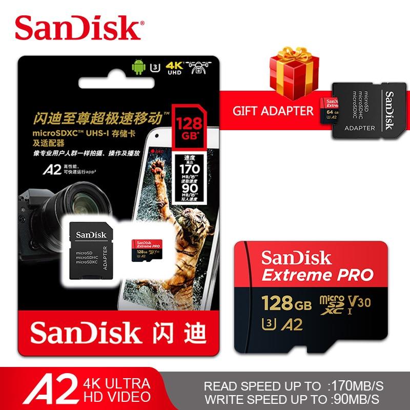 [해외]Sandisk extreme pro microsdxc UHS-I 카드 64 gb 128 gb 256 gb 최대 170 메가바이트/초 읽기 속도 u3 v30 a2 메모리 카드 transflash tf 카드 4 k/Sandisk extreme pr