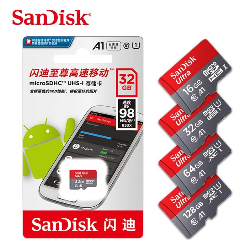 [해외]SanDisk A1 Memory Card 200GB 128GB 64GB 98MB/S 32GB Micro sd card Class10 UHS-1 flash card Memory Microsd TF/SD Cards for Tablet/SanDisk A1 Memory