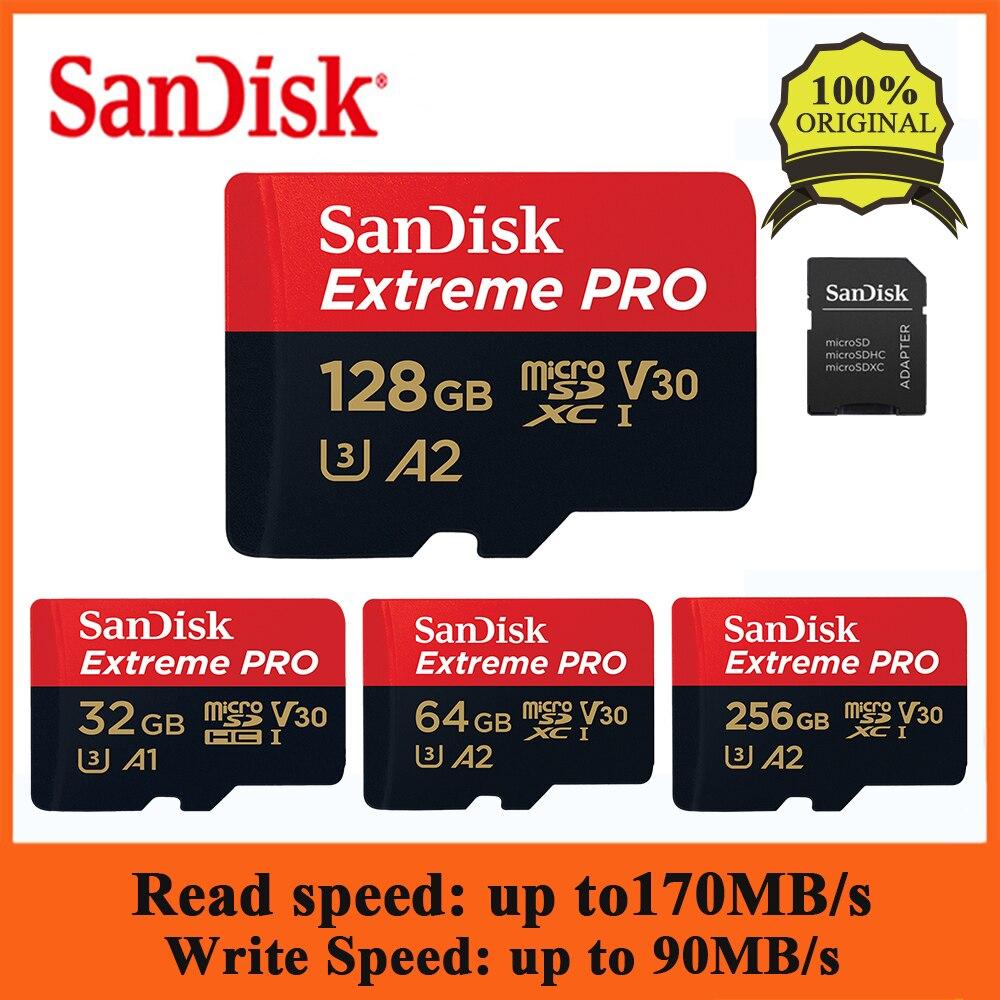 [해외]Sandisk extreme pro 128 gb 64 gb 32 gb microsdhc sdxc UHS-I 메모리 카드 micro sd 카드 tf 카드 최대 170 메가바이트/초 class10 (sd 어댑터 포함)/Sandisk extreme
