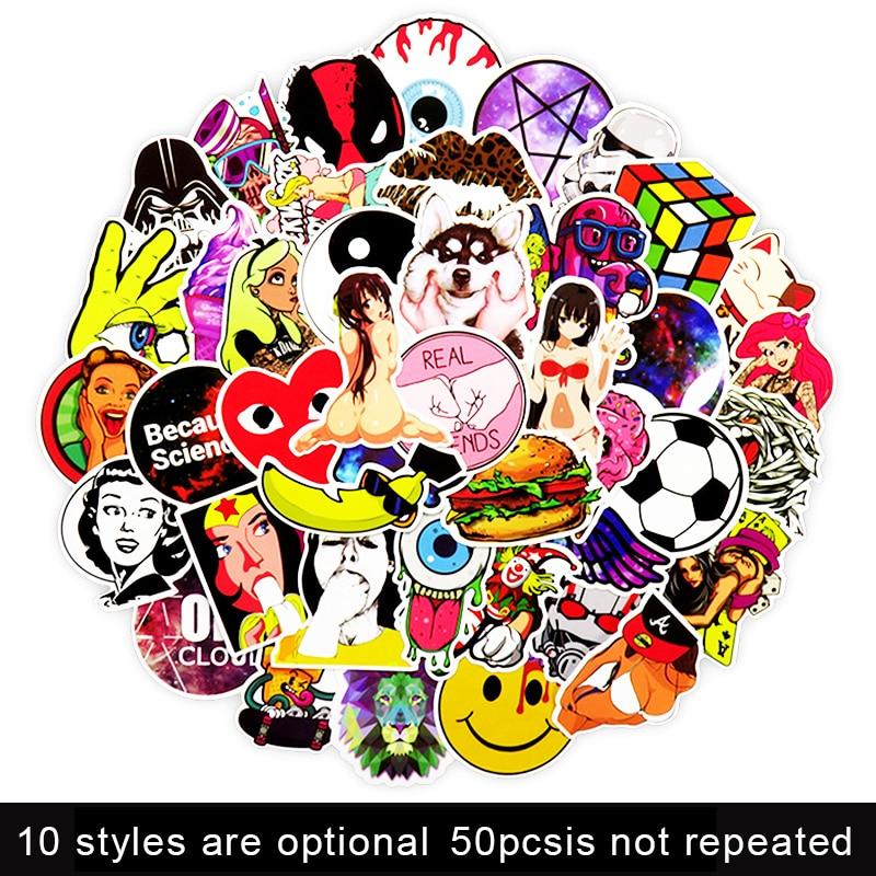 [해외]50PCS /pack 10 styles optional  laptop stickers sticker for MacBook mac book 15 skins /HP/Lenovo 13.3 decal PVC  skin/50PCS /pack 10 sty