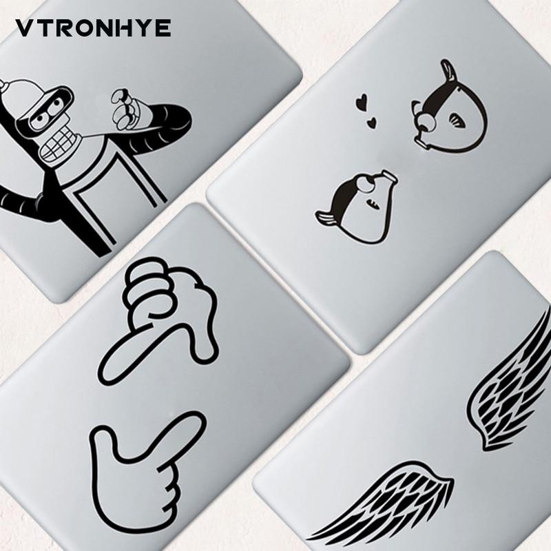 [해외]Funny Black wing PVC Laptop Skin Stickers for Apple Macbook 12 Air Retina 11 13 15 Pro 2016 2018 Partial Laptop Cover Sticker/Funny Black wing PVC