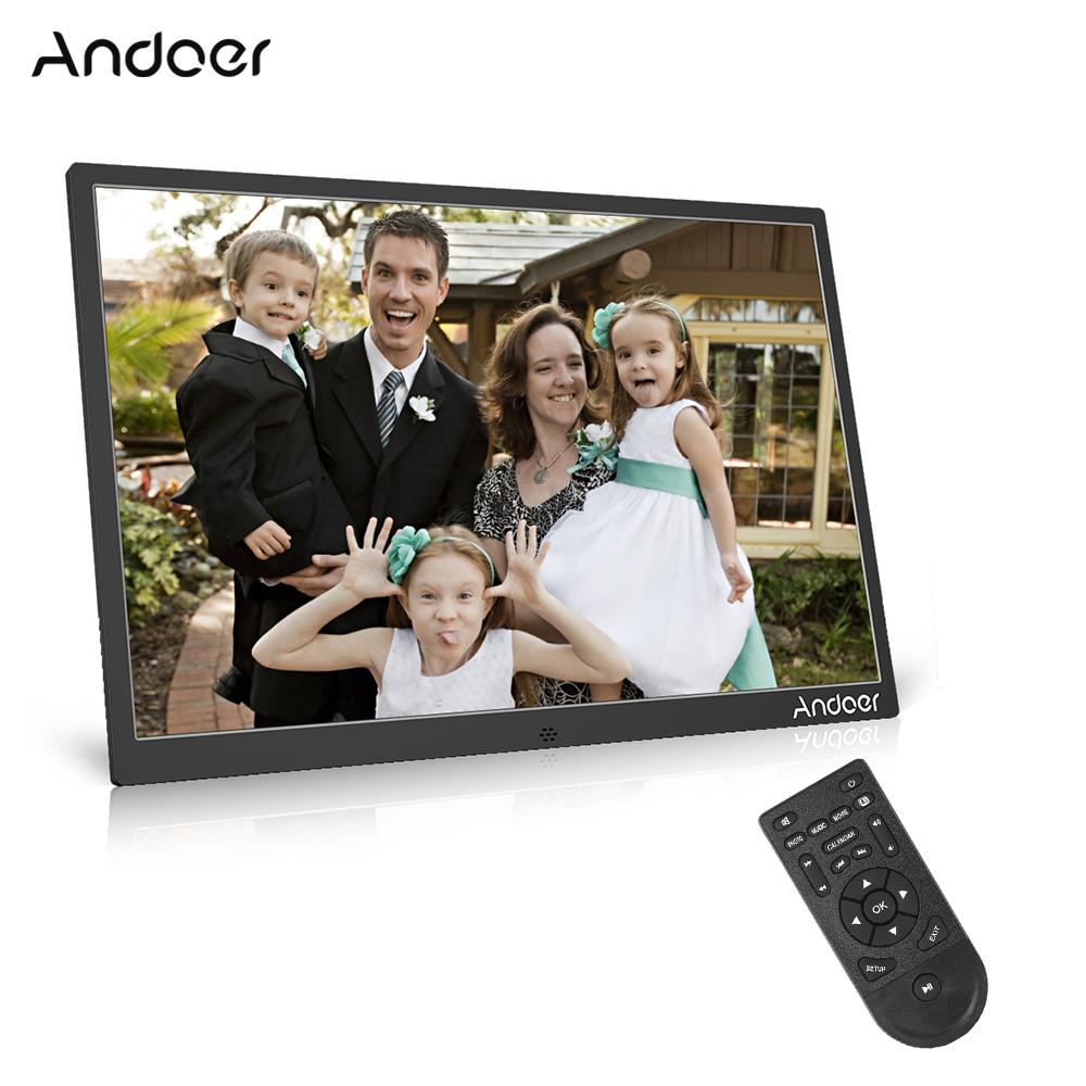 Andoer 17 인치 led 디지털 사진 프레임 1080 p 지원 원격 제어와 알루미늄 합금 놀이 크리스마스 생일 선물