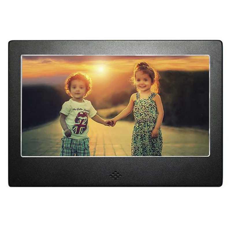 Eu 플러그 7 인치 디지털 포토 프레임 블랙 매트 고해상도 백라이트 및 원격 메인 usb 및 sd 카드 포트로 구동