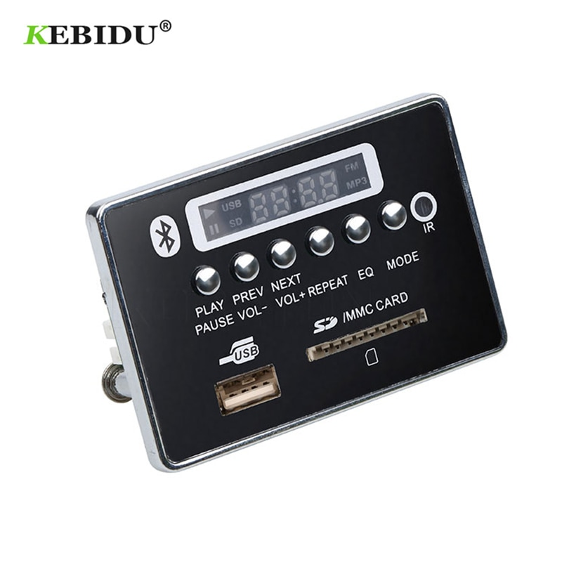 [해외]/Kebidu New Hands-free MP3 Decoder Board USB FM Aux Radio USB Bluetooth Module Remote Control Integrated Car MP3 Player For Car