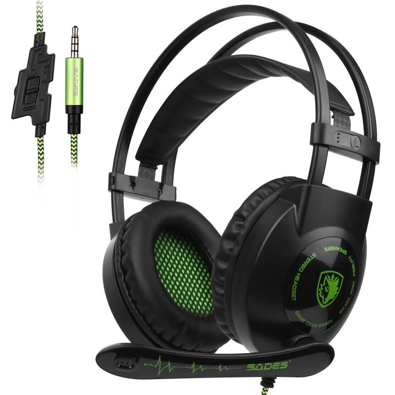 [해외]SADES SA801 3.5mm 게이밍 헤드셋 cas 게이머 헤드폰 Xbox One PS4 랩톱 PC 휴대 전화 용 WiredMic 볼륨 컨트롤/SADES SA801 3.5mm Gaming Headset casque Gamer Headphone WiredMic
