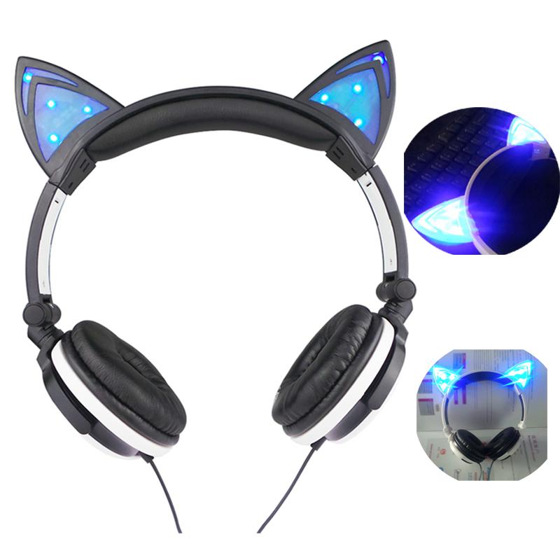 [해외]올리비아 만화 귀여운 고양이 헤드폰 게임 헤드폰 고양이 귀 빛나는 이어폰 접이식 깜박이는 불빛이 켜지는 헤드셋 LED 라이트/OLLIVAN Cartoon Cute Cat Headphones Gaming Headphones Cat Ear Luminous Earph