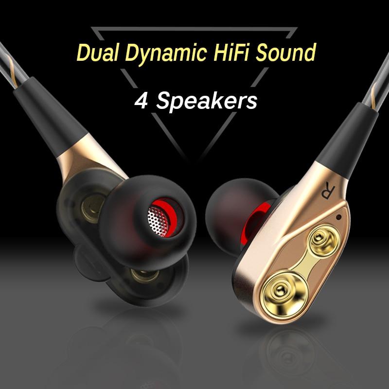 [해외]/IPUDIS 3.5mm HiFi Wired Earphone Dual-Dynamic Quad-core Speaker In-ear earbuds Flexible Cable Anti-wrap HD Microphone