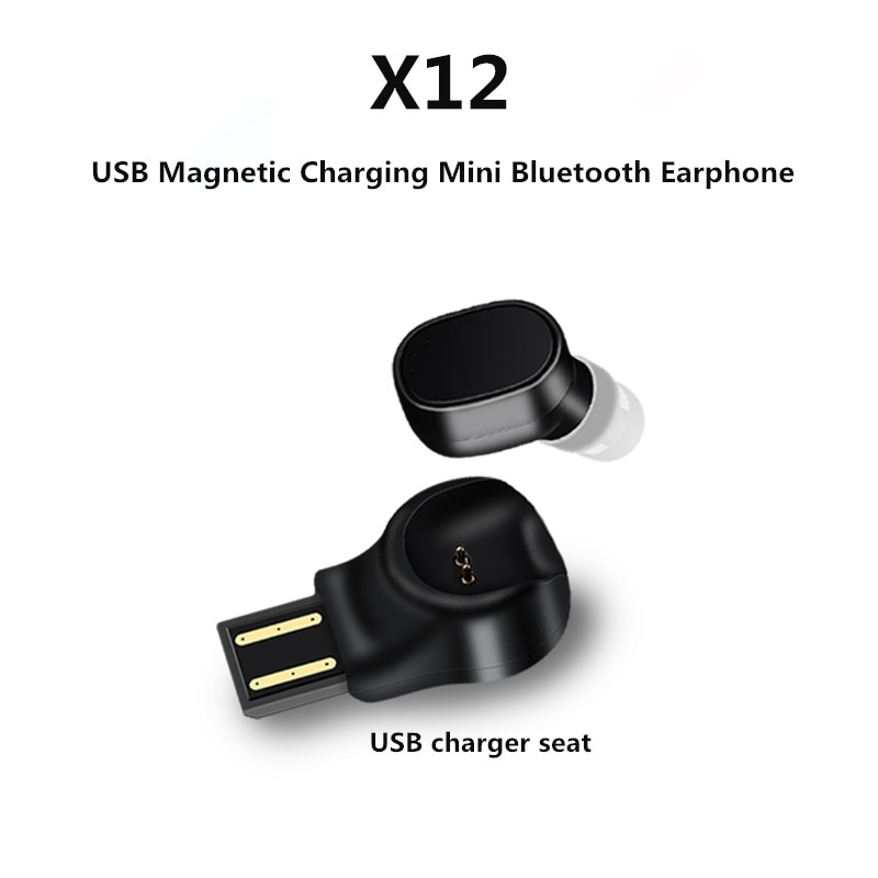 [해외]/TWS Wireless Bluetooth Earphone X12 USB Magnetic Charging Rechargeable Subwoofer EarbudsMicrophone Earpiece Headphone