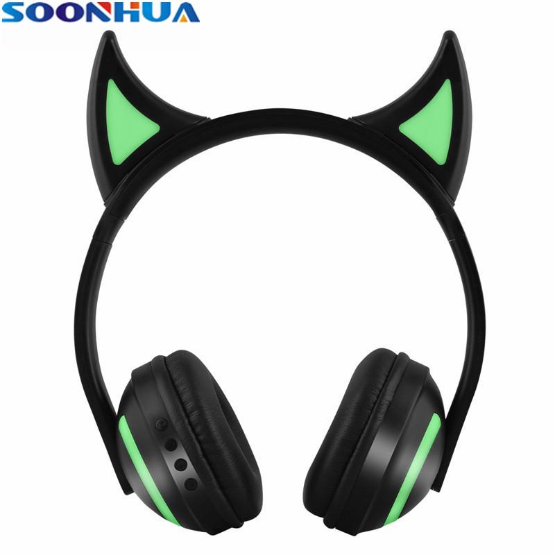 [해외]/SOONHUA Stylish Cute Ear Luminous LED Headphone Wireless Bluetooth Headsets HD Voice Stereo Waterproof EarphonesMicrophone