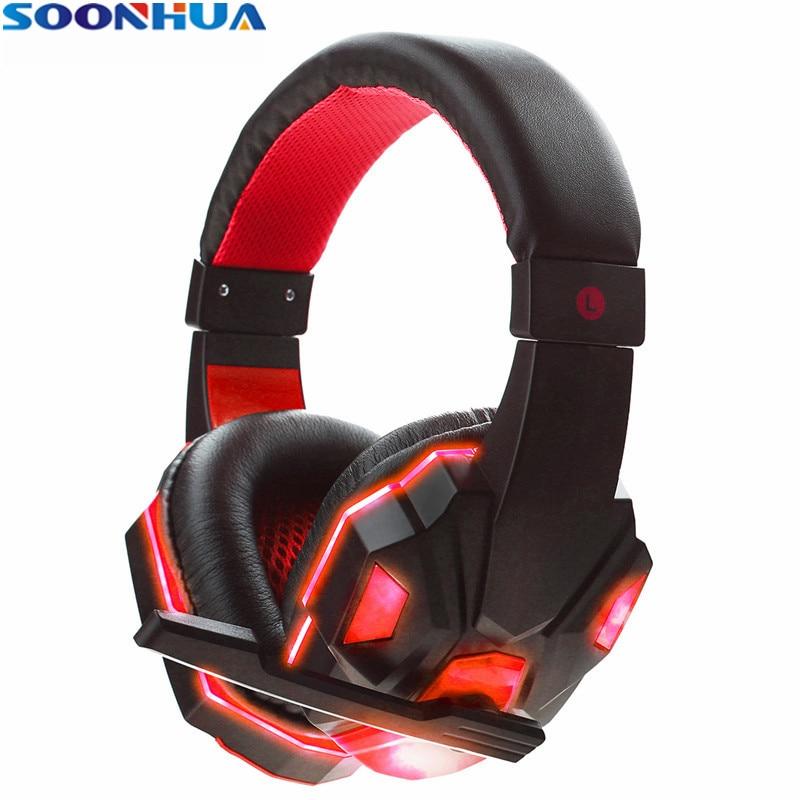 [해외]/SOONHUA Cool LED Light Gaming Headsets USB 3.5mm Soft Cushion Headphones Surround Stereo Headband EarphonesNoise Reduction