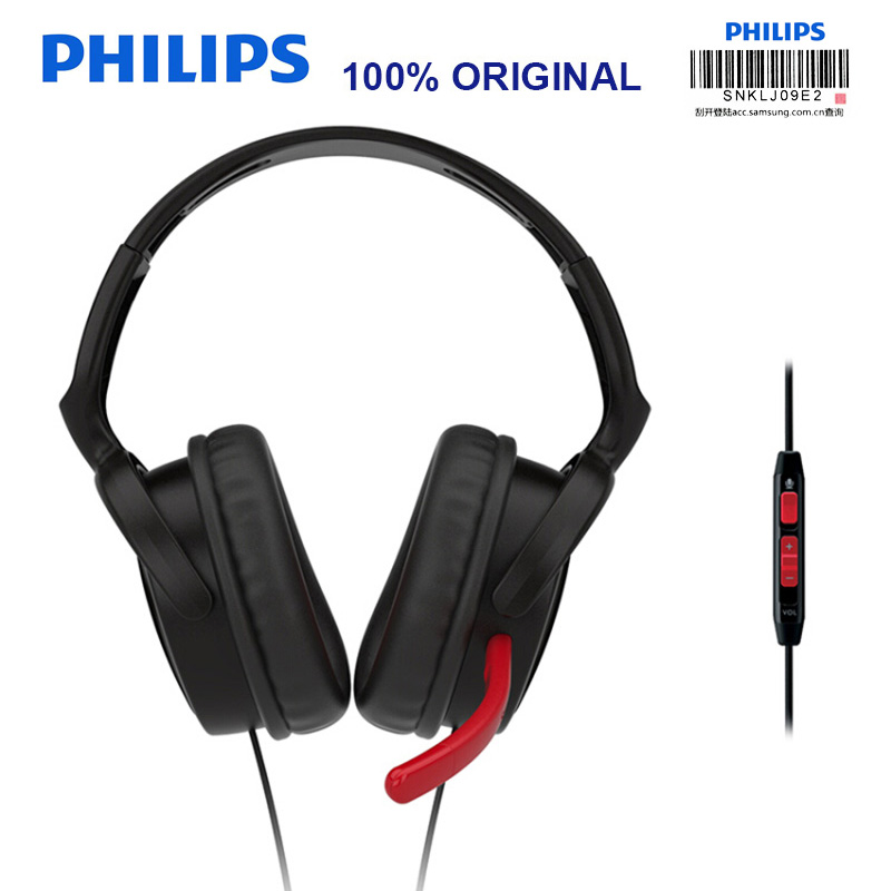 [해외]Philips SHG7980 Wired Headphone Support Video & Game wiht 3.5mm Plug Microphone Wire Control for Video Chat Official Test/Philips SHG7980 Wire