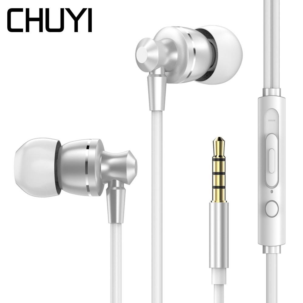 [해외]Chuyi 2019 금속 유니버설 이어폰 게임 마이크와 3.5mm earpbud 케이블 호환 아이폰 earset에 대 한 fone 드 ouvido