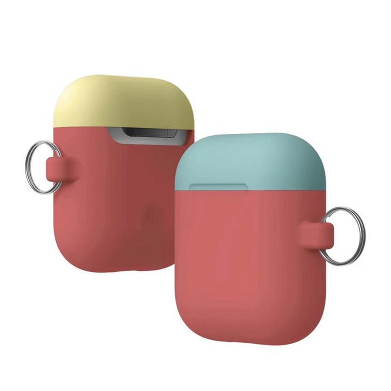 헤드폰 이중 캡 실리콘 케이스 방진 소프트 쉘 (airpods 용 제거 교체 모자 포함) macaron on multicolor selection