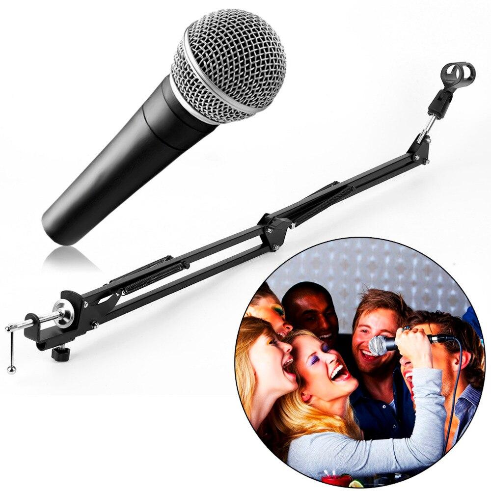 [해외]Extendable Recording Microphone Suspension Boom Arm Stand HolderClip Table Mounting Clamp for Studio Broadcast Black/Extendable Recording Micropho