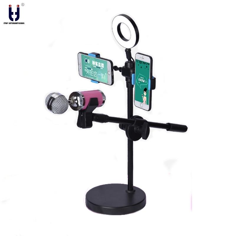 [해외]Selfie Ring Light 360 Degree Swing Boom Table Stand Microphone Holder two cell Holder mic stand Ajustable Stage Bottom Metal/Selfie Ring Light 360
