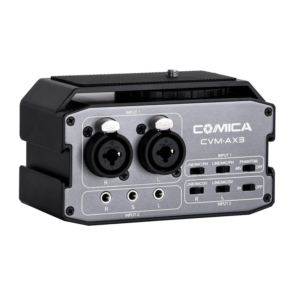 [해외]Comica CVM-AX3 듀얼 xlr/6.35mm/3.5mm 마이크 오디오 믹서 전문 멀티 인터페이스 슈팅 비디오 카메라 캠코더 용 믹싱/Comica CVM-AX3 듀얼 xlr/6.35mm/3.5mm 마이크 오디오 믹서 전문 멀티 인터페이스