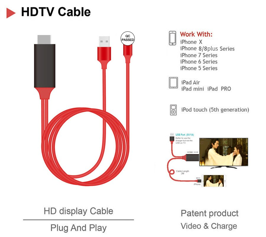[해외]Newest HDMI 2M Cable For Apple iPhone X 8 8 plus 7 7 Plus 6 6s 5 5s 5S For Cable Adapter HDTV TV 8 Pin HD1080P Adapter HDMI/Newest HDMI 2M Cable F